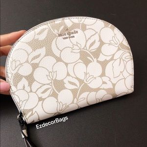 NWT Kate Spade Half Moon Floral Leather Wristlet